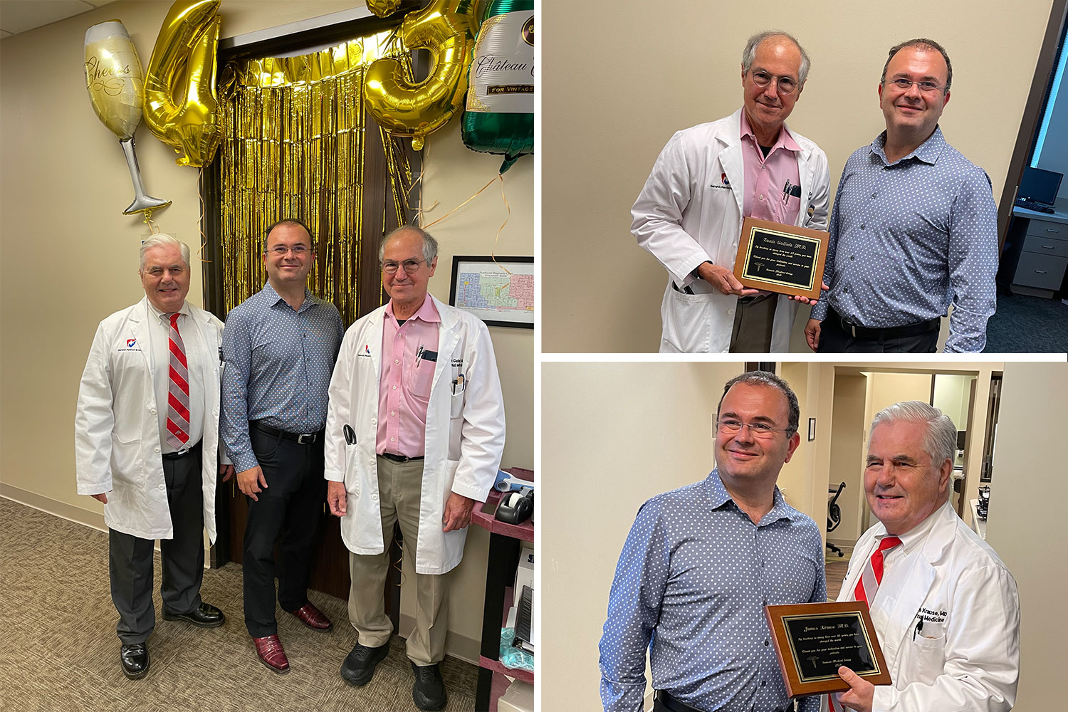Celebrating Dr Krause who has dedicated 46 years to practice medicine and Dr Galindo who has been practicing for 43 years